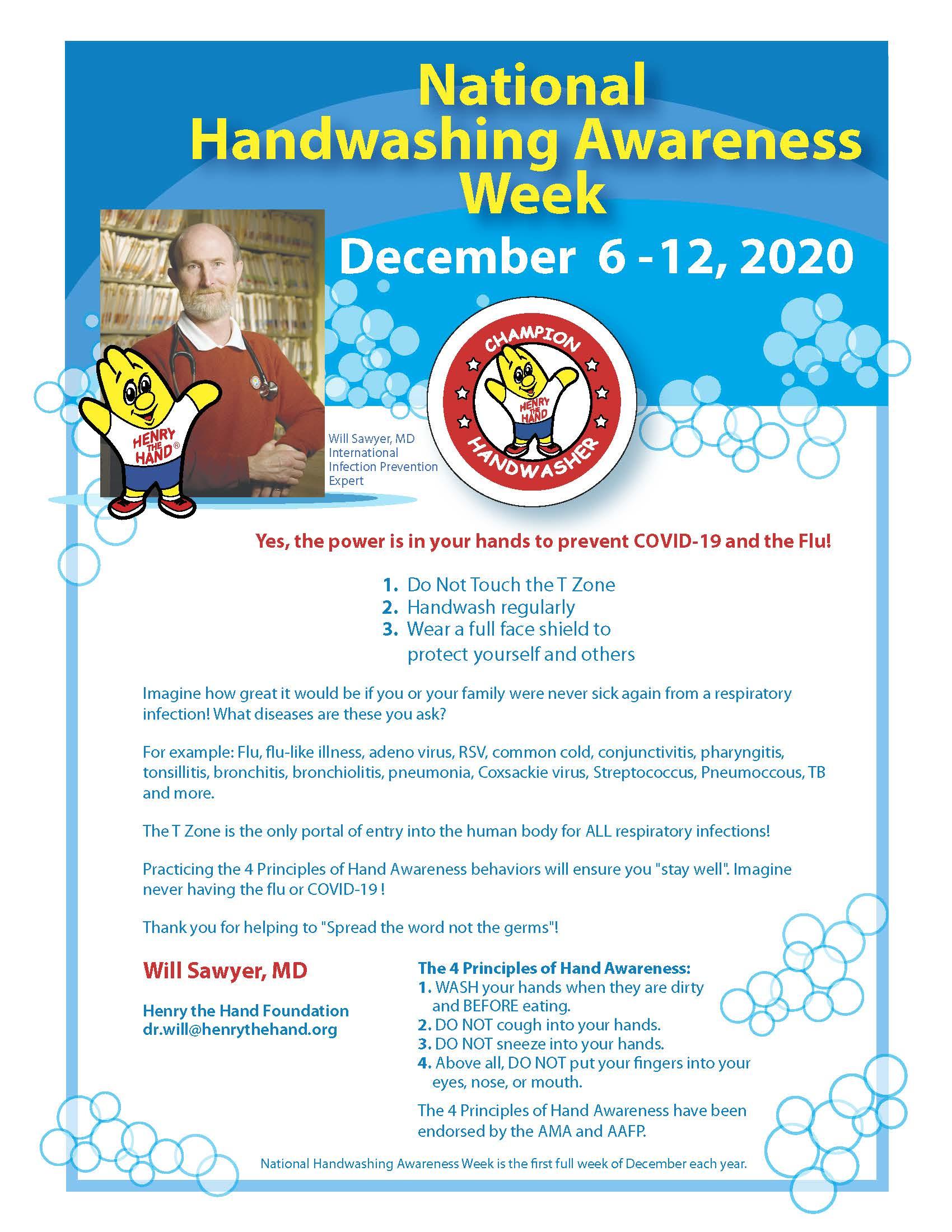 Dr Will National Handwashing Awareness Week Letter 2020