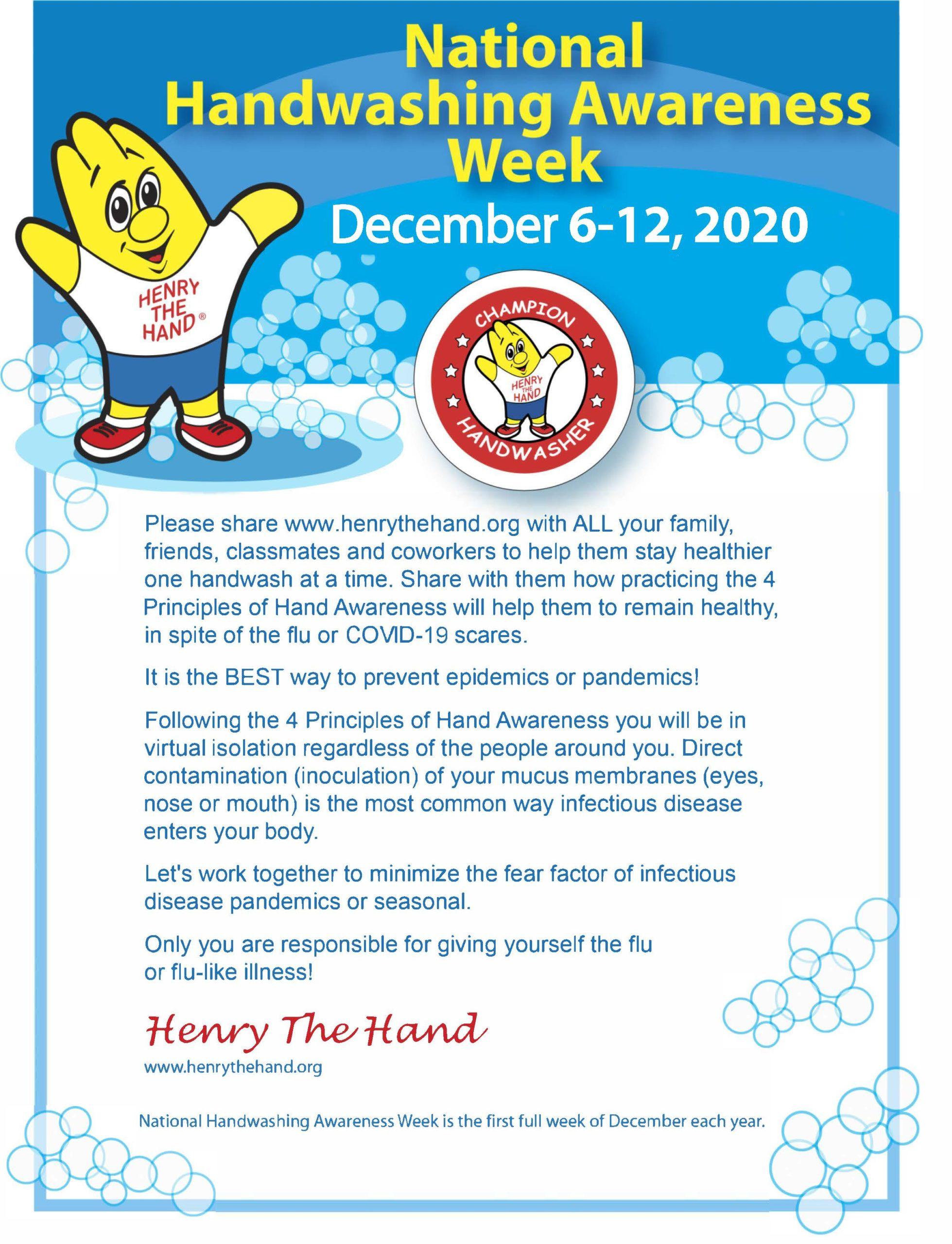 Henry Letter National Handwashing Awareness Week 2020